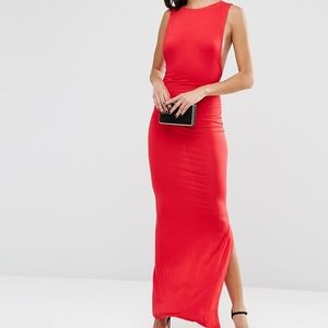 ASOS Low Armhole Side Boob Red Maxi Dress